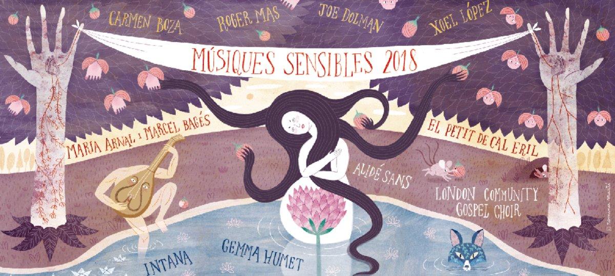 Cartel anunciador del ciclo de conciertos 'Músiques sensibles'.
