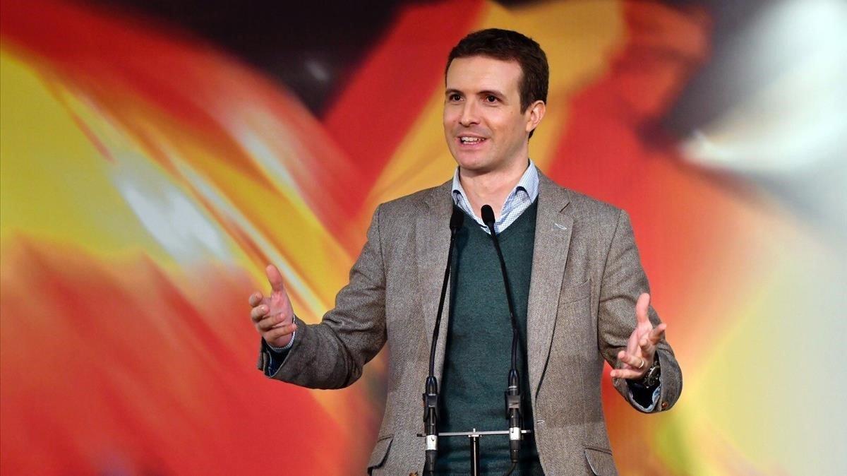 El líder del PP, Pablo Casado, en un reciente mitin en Almería.
