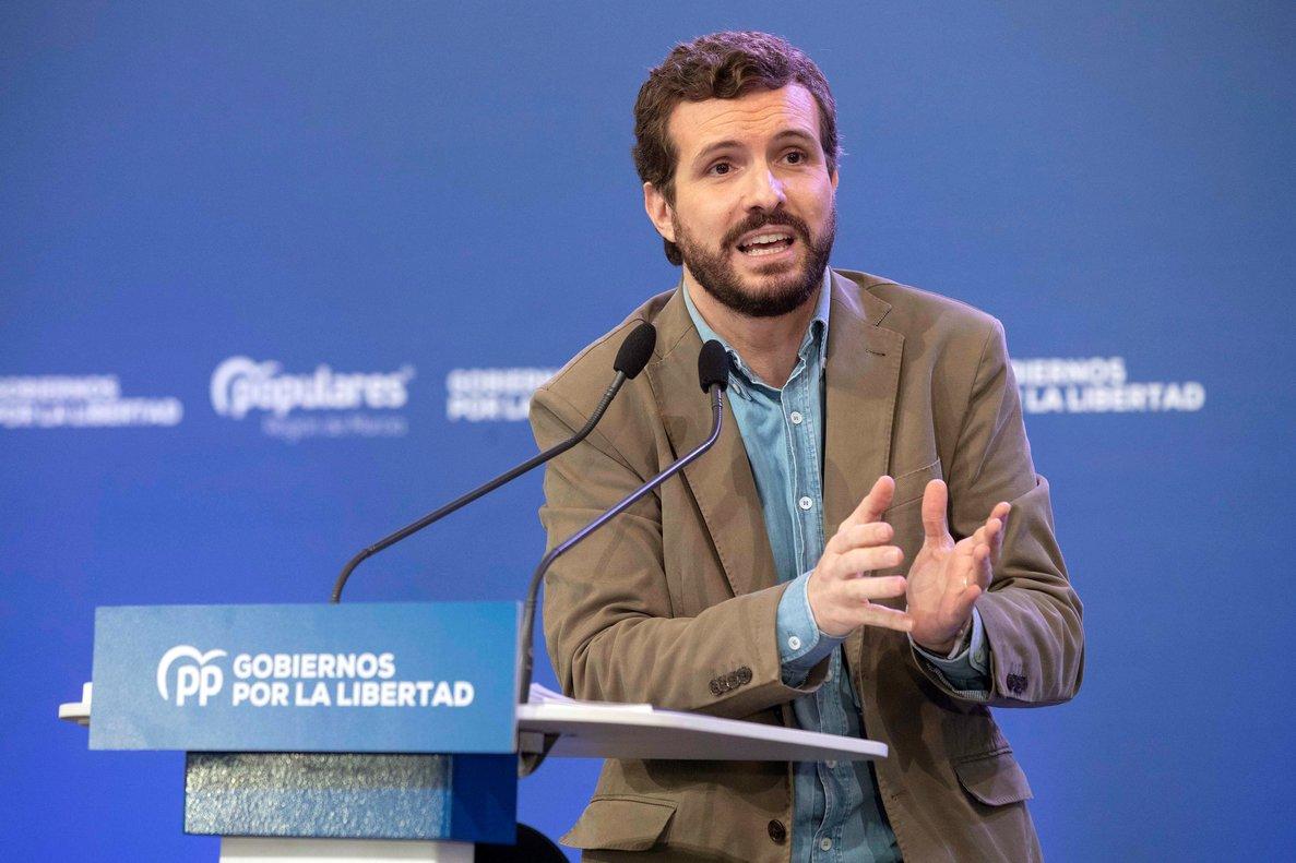 Pablo Casado durante su intervención en un acto del Partido Popular.