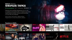 Pantalla de inicio de la plataforma de pago Netflix, con sus producciones recomendadas para el mercado español.