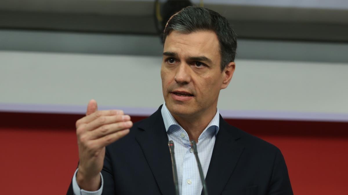 Pedro Sánchez, el pasado lunes en la sede del PSOE.