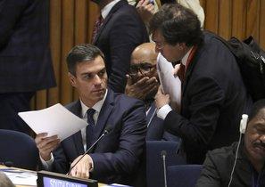 Pedro Sánchezen la reunión sobre acción para el mantenimiento de la paz, este martes en la ONU.