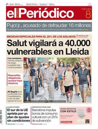 La portada de EL PERIÓDICO del 8 de julio del 2020