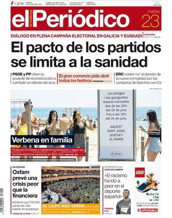 La portada de EL PERIÓDICO del 23 de junio del 2020