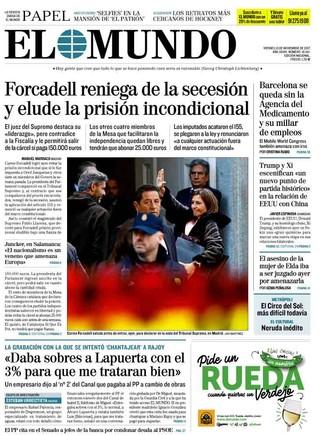 Forcadell reniega de la secesión, según los diarios de Madrid