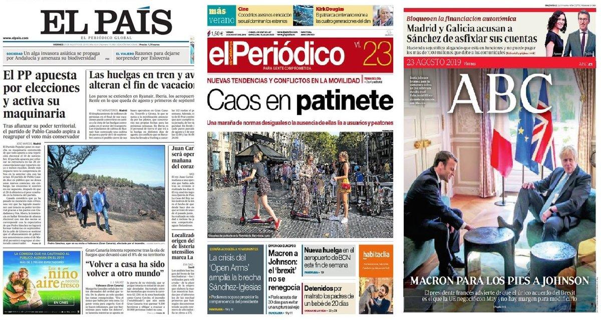 Prensa de hoy: Las portadas de los periódicos del viernes 23 de agosto del 2019