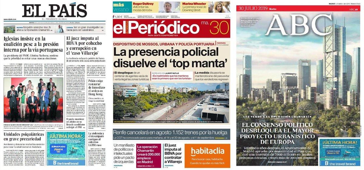 Prensa de hoy: Las portadas de los periódicos del martes 30 de julio del 2019