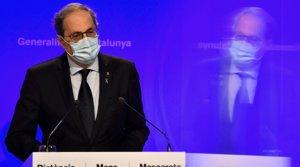 El presidente de la Generalitat, Quim Torra,durante la rueda de prenda para informar de la evolución de los rebrotes, el lunes 27 de julio.