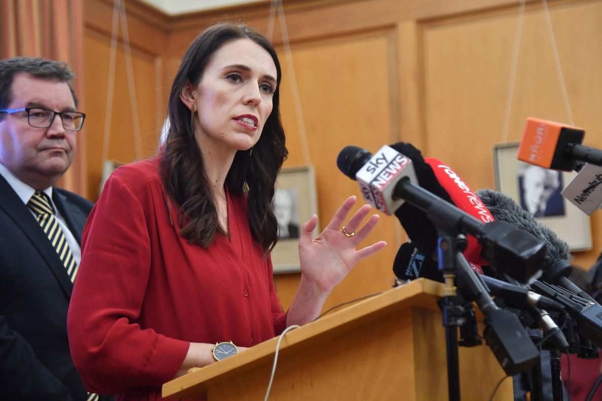 La primera ministra de Nueva Zelanda, Jacinda Ardern, duranteuna rueda de prensa en el Parlamento en Wellington, la capital del país.