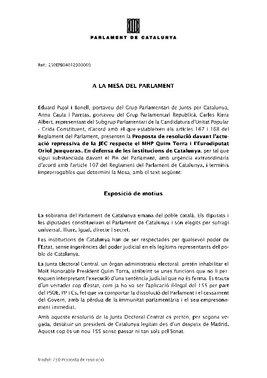 Propuesta de resolución de los grupos soberanistas sobre la JEC yTorra