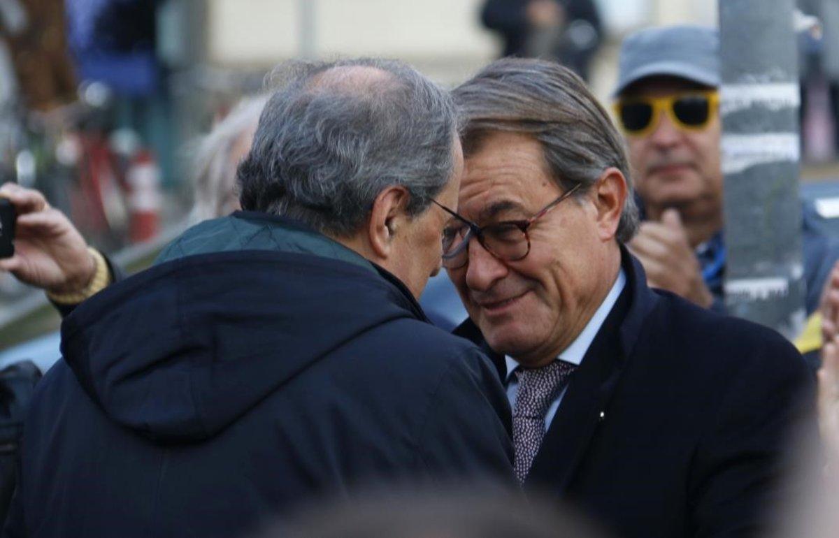 Quim Torra y Artur Mas, antes de entrar en el Tribunal de Justícia.