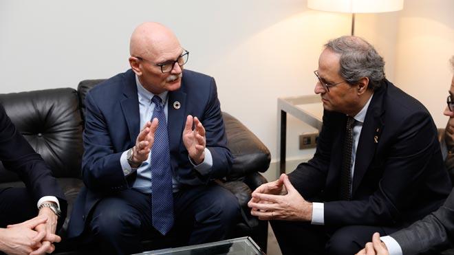 Quim Torra se reúne con John Hoffman, consejero delegado de la GSMA, tras la suspensión del Mobile World Congress.