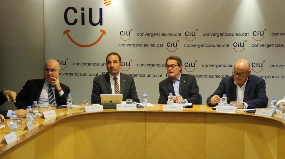 Reunión de la ejecutiva de CiU tras las municipales de mayo del 2015.