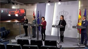 Los portavoces del Comité Técnico de seguimiento de la epidemia, en rueda de prensa en La Moncloa.