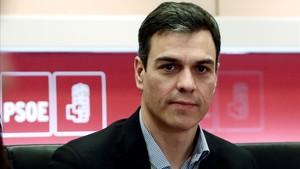 El secretario general del PSOE, Pedro Sánchez, en una reunión del partido.