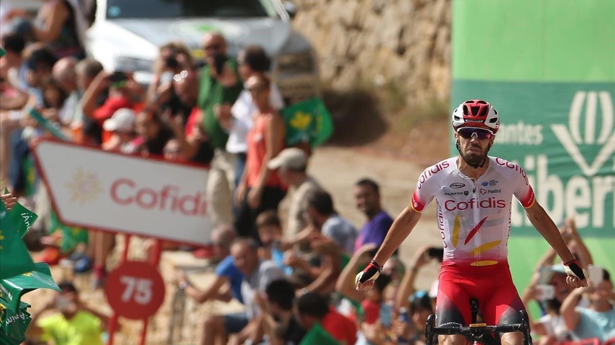 Jesús Herrada, en el instante de ganar la sexta etapa de la Vuelta.
