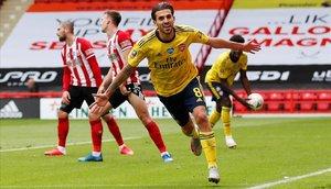 Dani Ceballos celebra el gol que clasificó al Arsenal.