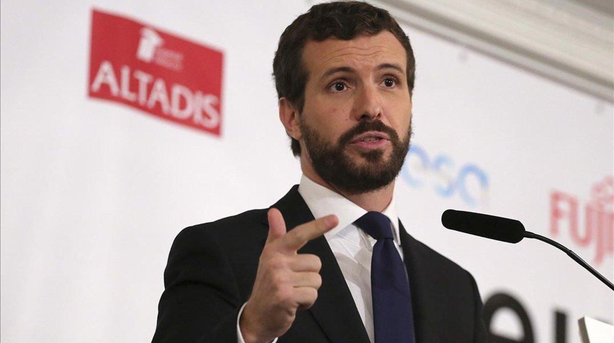Pablo Casado, este lunes en un hotel del centro de Madrid, en el desayuno informativo de Europa Press.