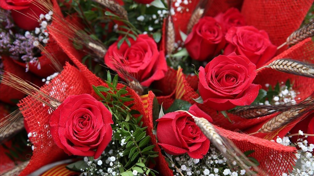Venta de rosas en Sant Jordi.