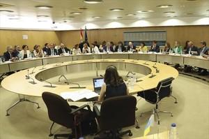 Vista general de la reunión que ayer celebró el Consejo de Política Fiscal y Financiera en Madrid.
