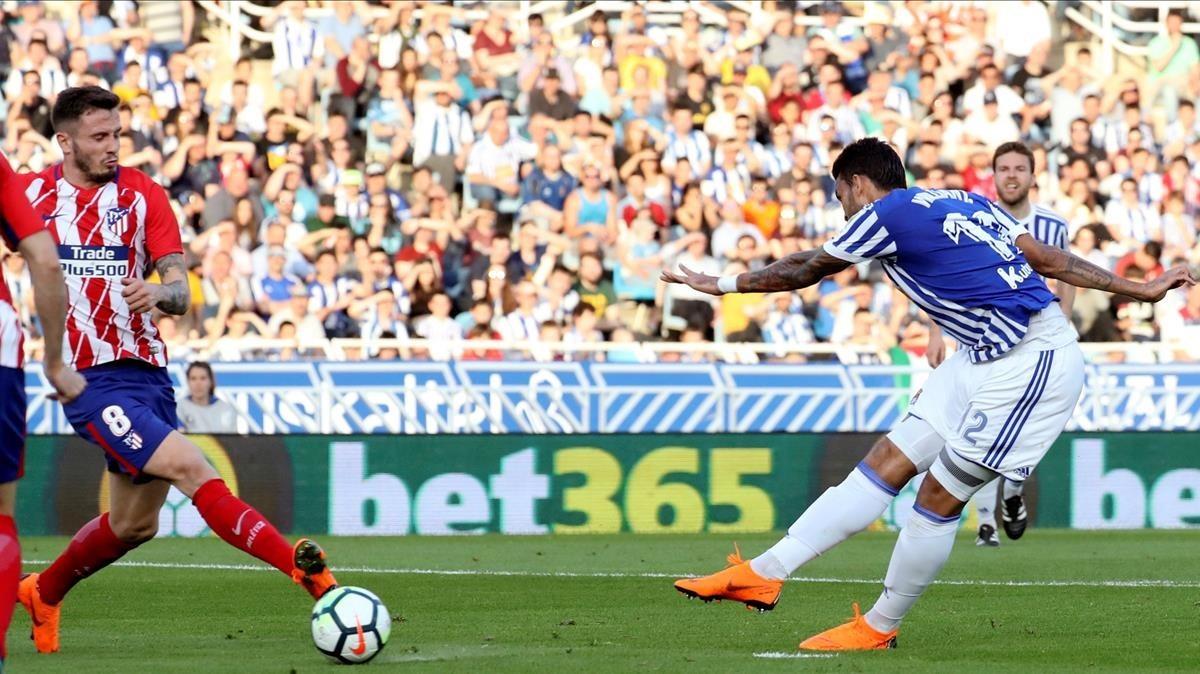 Willian José celebra su gol ante el Atlético.