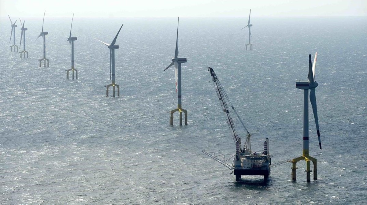 Centro de producción de energías renovables en la isla alemana de Borkum.