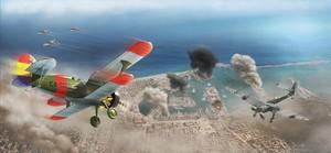 Una de las ilustraciones del libro: el sargento Alférez persigue un Stuka en el cielo de Barcelona.