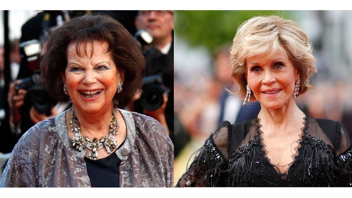 Claudia Cardinale y Jane Fonda, en Cannes, esta semana.