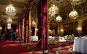 El salón de baile del palacio del Elíseo, la residencia oficial del presidente de Francia.