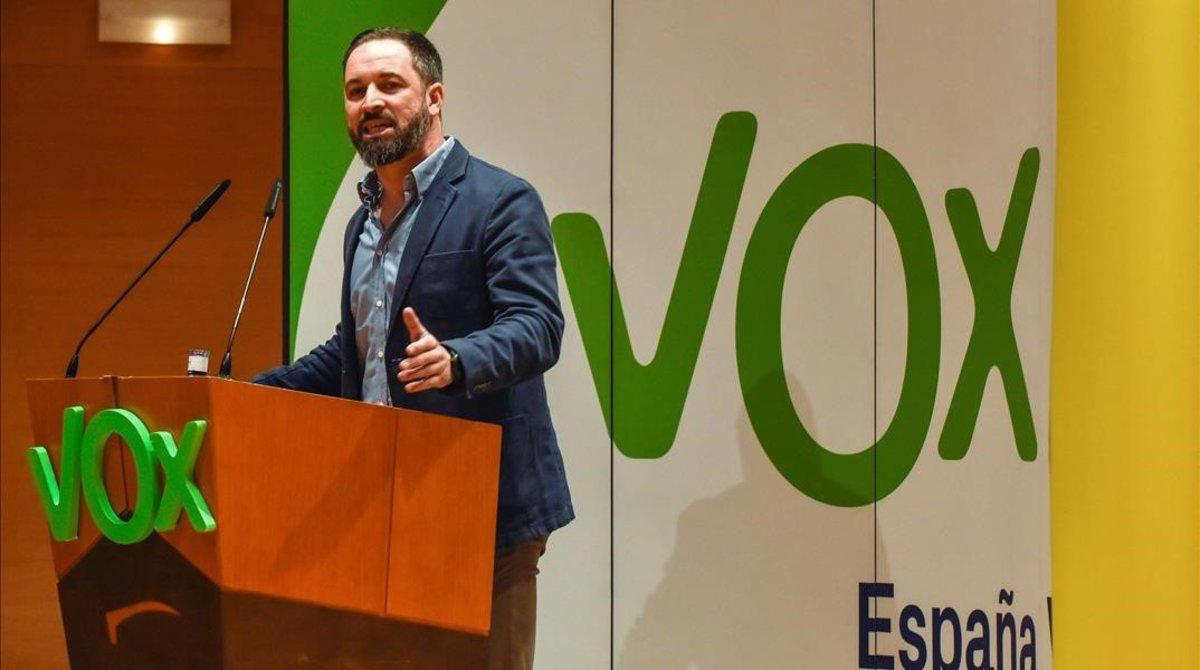 El presidente de Vox, Santiago Abascal, en un acto de su partido en Bilbao, el pasado mes de noviembre.