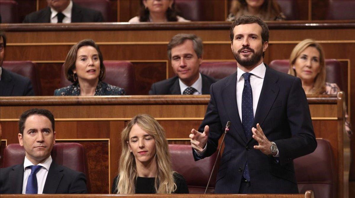 Pablo Casado, este miércoles, en la sesión de control al Gobierno.