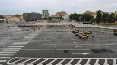 Aspecto de la parada de la estación de Sants.