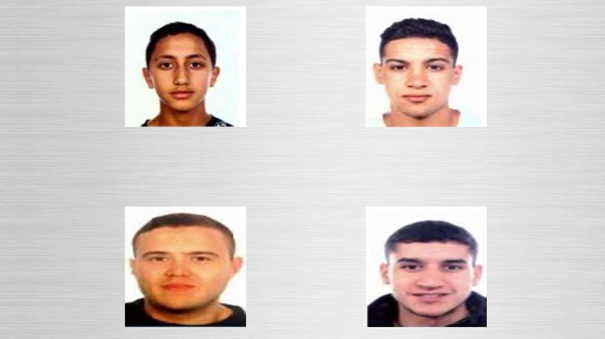 Los cuatro fugitivos; de izquierda a derecha: Moussa Oukabir, Said Aallaa, Mohamed Hychami y Younes Abouyaaqoub.