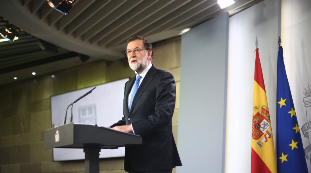 Mariano Rajoy, este viernes, durante la rueda de prensa que ha dado para comentar los resultados del 21-D.