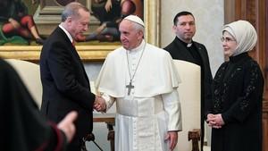 El papa Francisco y el presidente de Turquía, Recep Tayyip Erdogan, en su encuentro en el Vaticano