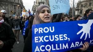 Manifestacion a favor de la llegada de refugiados e inmigrantes