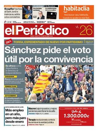 La portada d'EL PERIÓDICO del 26 d'abril del 2019
