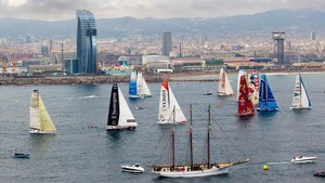 Una imagen de la Barcelona World Race, en la edición 2014-2015, en la ciudad.
