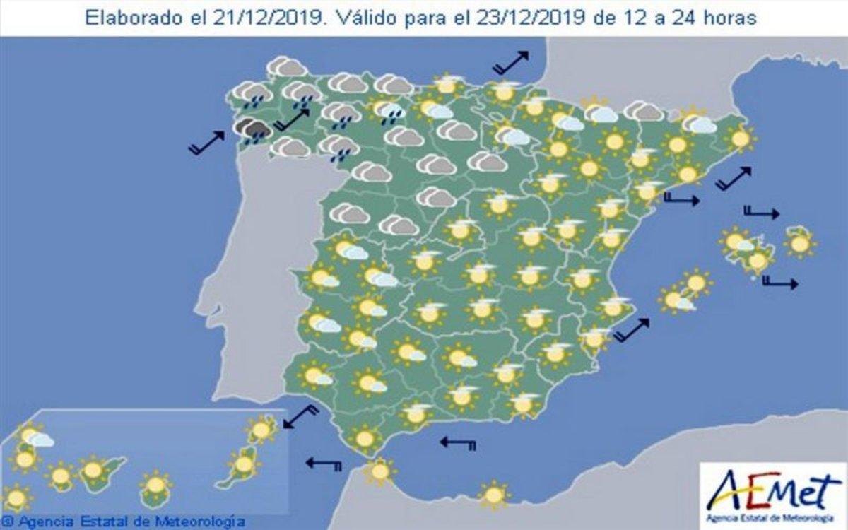 Mapa De Tiempo Espana.Aemet Pronostico Del Tiempo En Espana Hoy 23 De Diciembre De 2019