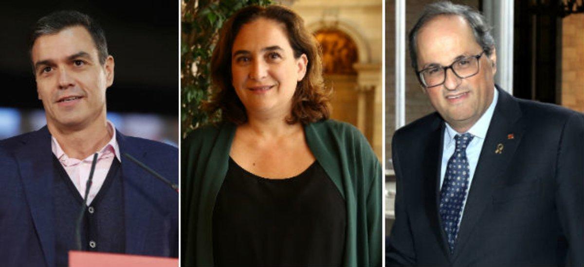 La alcaldesa de Barcelona, Ada Colau, flanqueada por el presidente del Gobierno, Pedro Sánchez, y el de la Generalitat, Quim Torra.