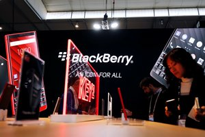 El estand de Blackberry en el Mobile World Congress de Barcelona, en febrero del 2019.