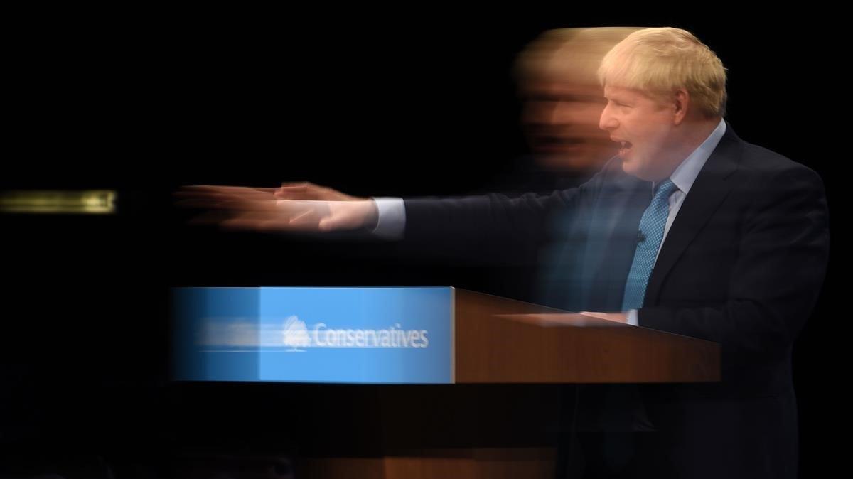 Boris Johnson, el pasado miércoles en la conferencia anual del Partido Conservador.