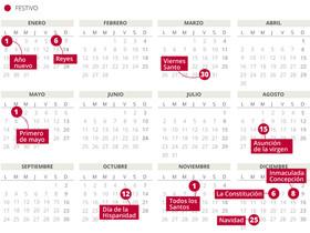 Calendario laboral de España para el 2018 (con todos los festivos comunes).
