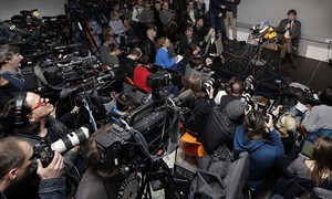 Carles Puigdemont, en la rueda de prensa de Berlín del 7 deabril, al día siguiente de salir de la prisión de Neumünster.