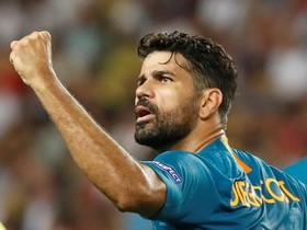 Diego Costa celebra el gol del empate en Mónaco.