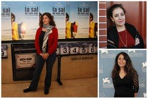 Las cineastas Anne Marie Jacir (izquierda), Leyla Bouzid y Haifaa al Mansour (abajo).