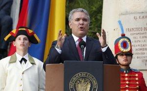 El presidente de Colombia,Iván Duque, durante la conmemoración delbicentenario de su independencia.