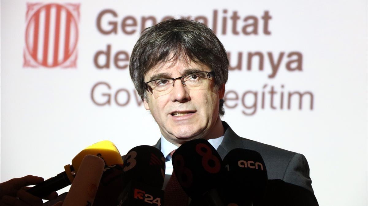 Comparecencia del expresidente Carles Puigdemont desde Bruselas.