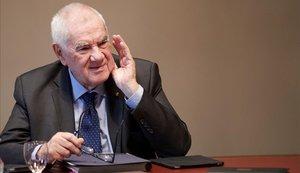 El conseller de Exteriors, Ernest Maragall, durante la reunión de este martes del Consell Executiu.