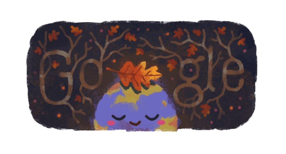 Google celebra la llegada del otoño con un tierno doodle.